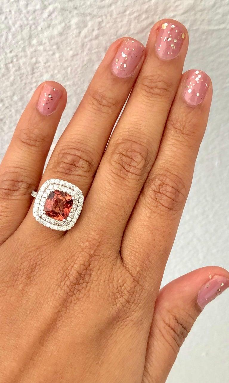 Women's 4.50 Carat Tourmaline Diamond 14 Karat White Gold Ring For Sale