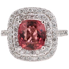 4.50 Carat Tourmaline Diamond 14 Karat White Gold Ring