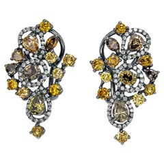 4.50 Carat T.W. Drop Diamond Earrings Fancy and White Colors 18 Karat Gold