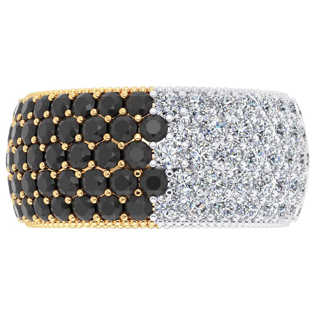4.50 Carat Wide White and Black Diamond White and Yellow 18 Karat Gold