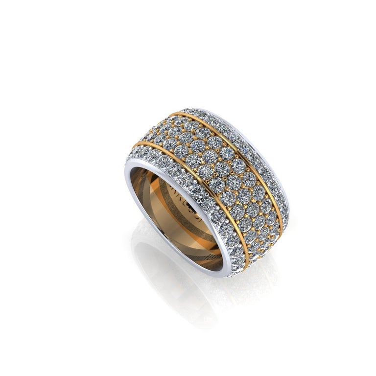FERRUCCI Wide diamond pave' ring, with a slightly dome feeling, a wrap of sparkling white diamonds, F/G color, VS clarity, for an approximate total carat weight of 4.70 carats, hand made in New York City with the best Italian craftsmanship conceived