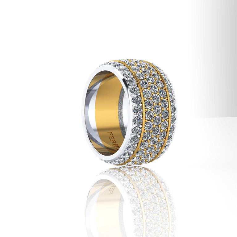 Modern 4.70 Carat Wide White Diamond Pave' Ring 18 Karat Yellow and White Gold For Sale