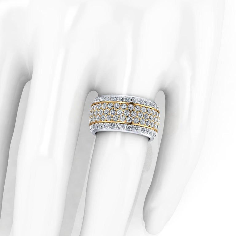Round Cut 4.70 Carat Wide White Diamond Pave' Ring 18 Karat Yellow and White Gold For Sale