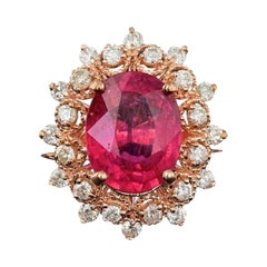4.50 Carats Natural Ruby and Diamond 14k Solid Rose Gold Ring