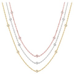 4.50 CT Diamond by the Yard 3 Strand Diamond Necklace, Rose, White & Yellow Gold