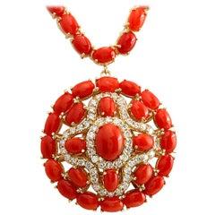 45.00 Carat Coral 18 Karat Yellow Gold Diamond Necklace