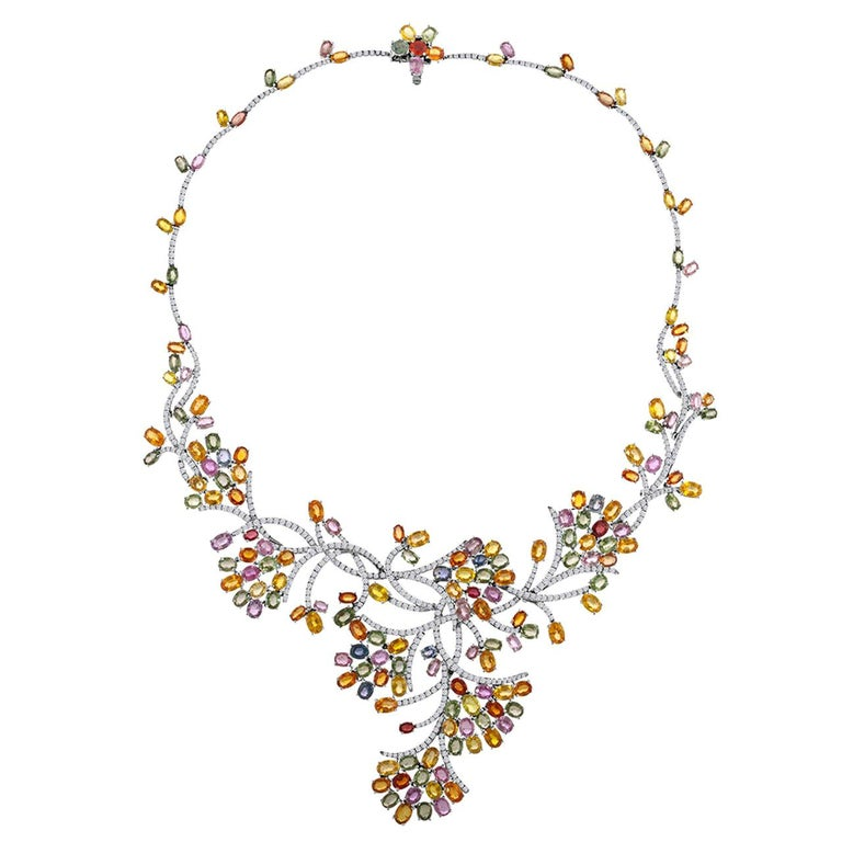 45.00 Carat Multi-Color Sapphire and Diamond Gold Necklace For Sale