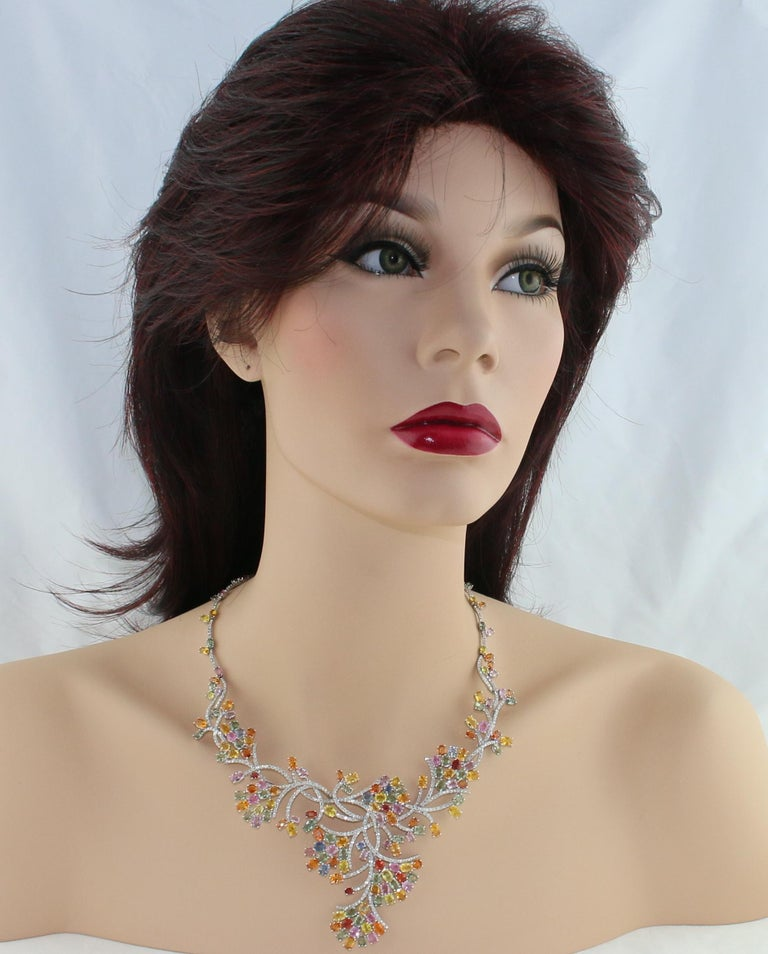 Contemporary 45.00 Carat Multi-Color Sapphire and Diamond Gold Necklace For Sale