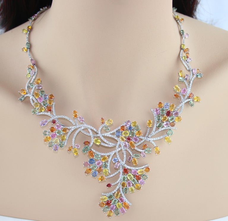 Oval Cut 45.00 Carat Multi-Color Sapphire and Diamond Gold Necklace For Sale