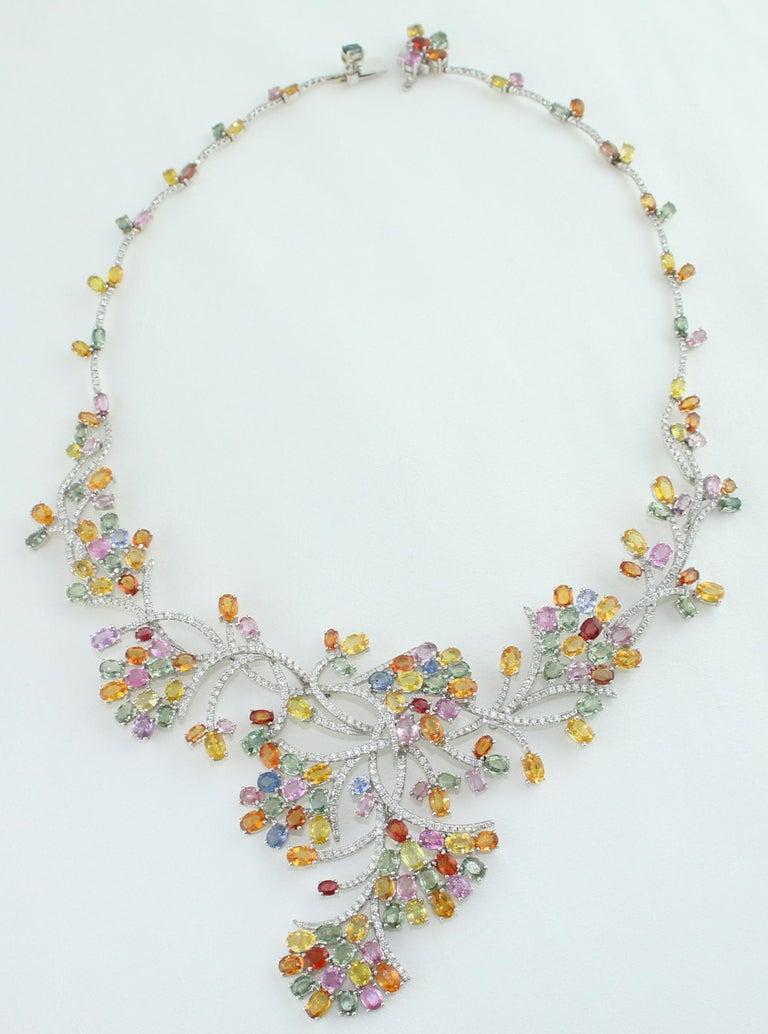 Women's 45.00 Carat Multi-Color Sapphire and Diamond Gold Necklace For Sale