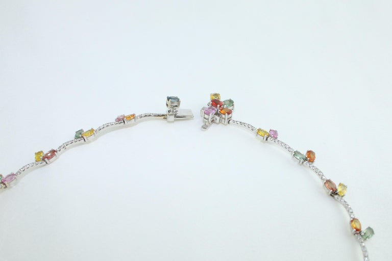 45.00 Carat Multi-Color Sapphire and Diamond Gold Necklace For Sale 1