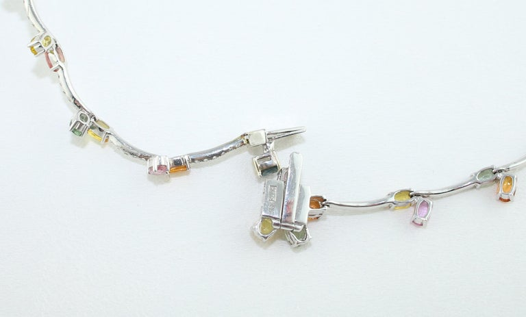 45.00 Carat Multi-Color Sapphire and Diamond Gold Necklace For Sale 2