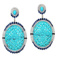 45.05 Hand Carved Turquoise Sapphire Diamond Earrings