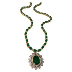 45.07 Ctw Emerald 18k Yellow Gold Diamond Necklace