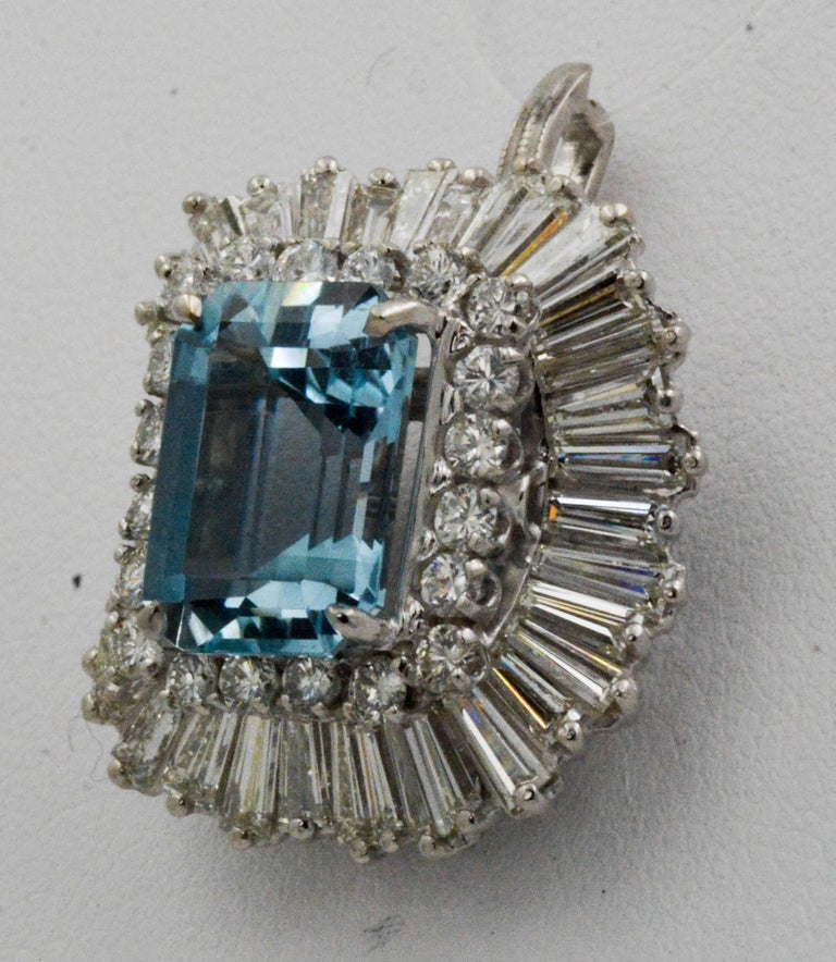 Modern 4.51 Carat Aquamarine 3.75 Carat Diamond Ballerina Cocktail Ring/Pendant For Sale