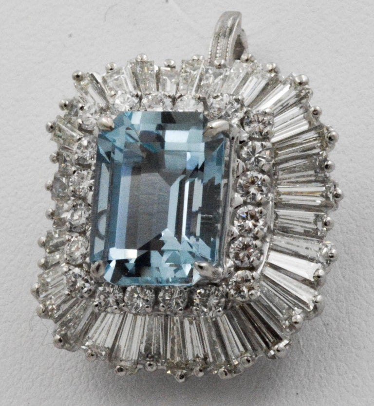 4.51 Carat Aquamarine 3.75 Carat Diamond Ballerina Cocktail Ring/Pendant In Excellent Condition For Sale In Dallas, TX