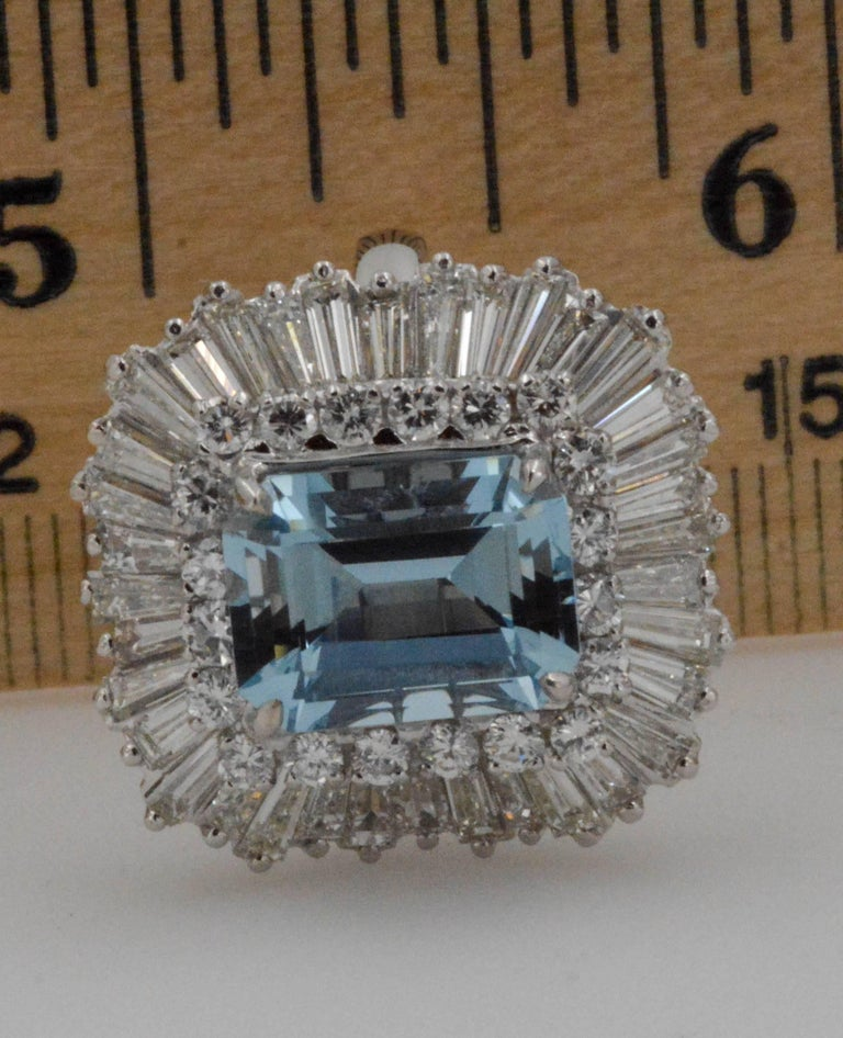 4.51 Carat Aquamarine 3.75 Carat Diamond Ballerina Cocktail Ring/Pendant For Sale 3