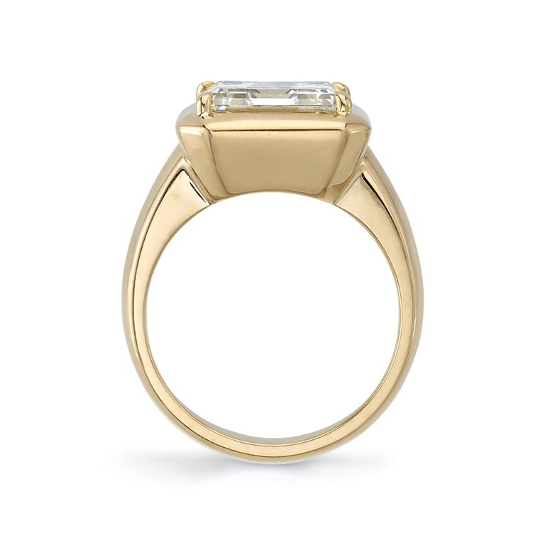 4.51 Carat Asscher Cut Diamond Set in a Handcrafted Yellow Gold Engagement Ring In New Condition For Sale In Los Angeles, CA