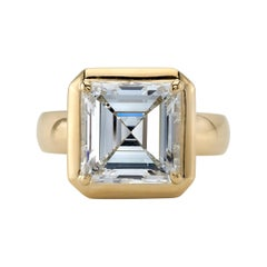 4.51 Carat Asscher Cut Diamond Set in a Handcrafted Yellow Gold Engagement Ring