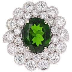4.51 Carat Chrome Diopside Diamond White Gold Cocktail Ring