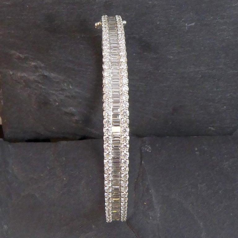 4.51 Carat Diamond Bangle, 2.17ct Baguette Cut, 2.34ct Brilliant Cut, White Gold For Sale 3