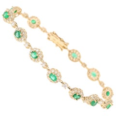 4.51 Carat Emerald Diamond Bracelet 14 Karat Yellow Gold