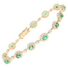 4.51 Carat Emerald Diamond Bracelet 14 Karat Yellow Gold