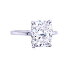 4.51 Carat GIA Diamond Solitaire Cushion Cut 18K White Gold Ring Si1 Clarity