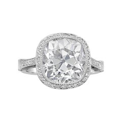 4.51 Carat J VS1 Old Mine Cushion Cut Diamond and Platinum Ring by Hancocks