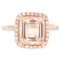 4.51 Carat Morganite Diamond 14 Karat Rose Gold Cocktail Ring