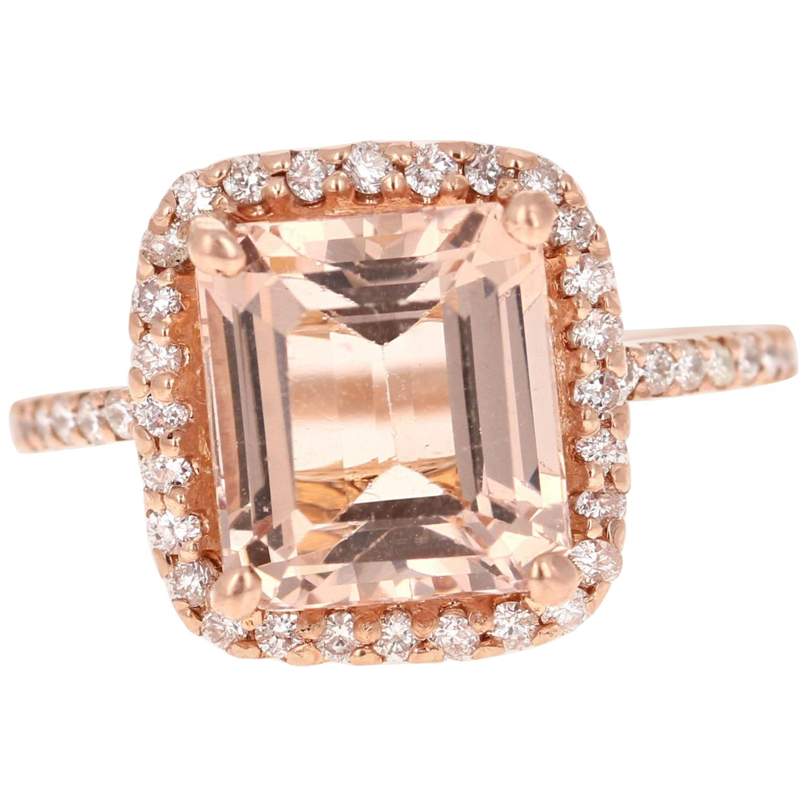 4.51 Carat Morganite Diamond 14 Karat Rose Gold Ring