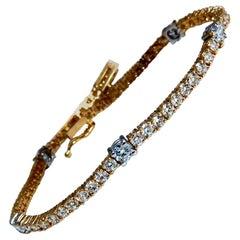 4.51 Carat Natural Diamonds Tennis Bracelet 14kt Gold Classic Station Alternate