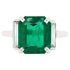 4.52 Carat Emerald Cut Emerald and Diamond Art Deco Style Platinum Ring