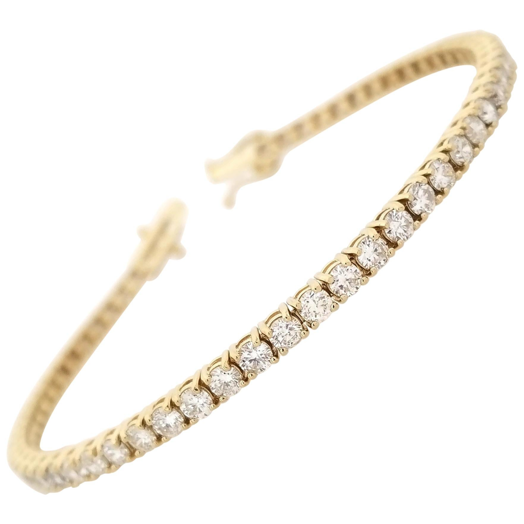 4.35 Carat Round Brilliant Cut Diamond Tennis Bracelet 14 Karat Yellow Gold 7''