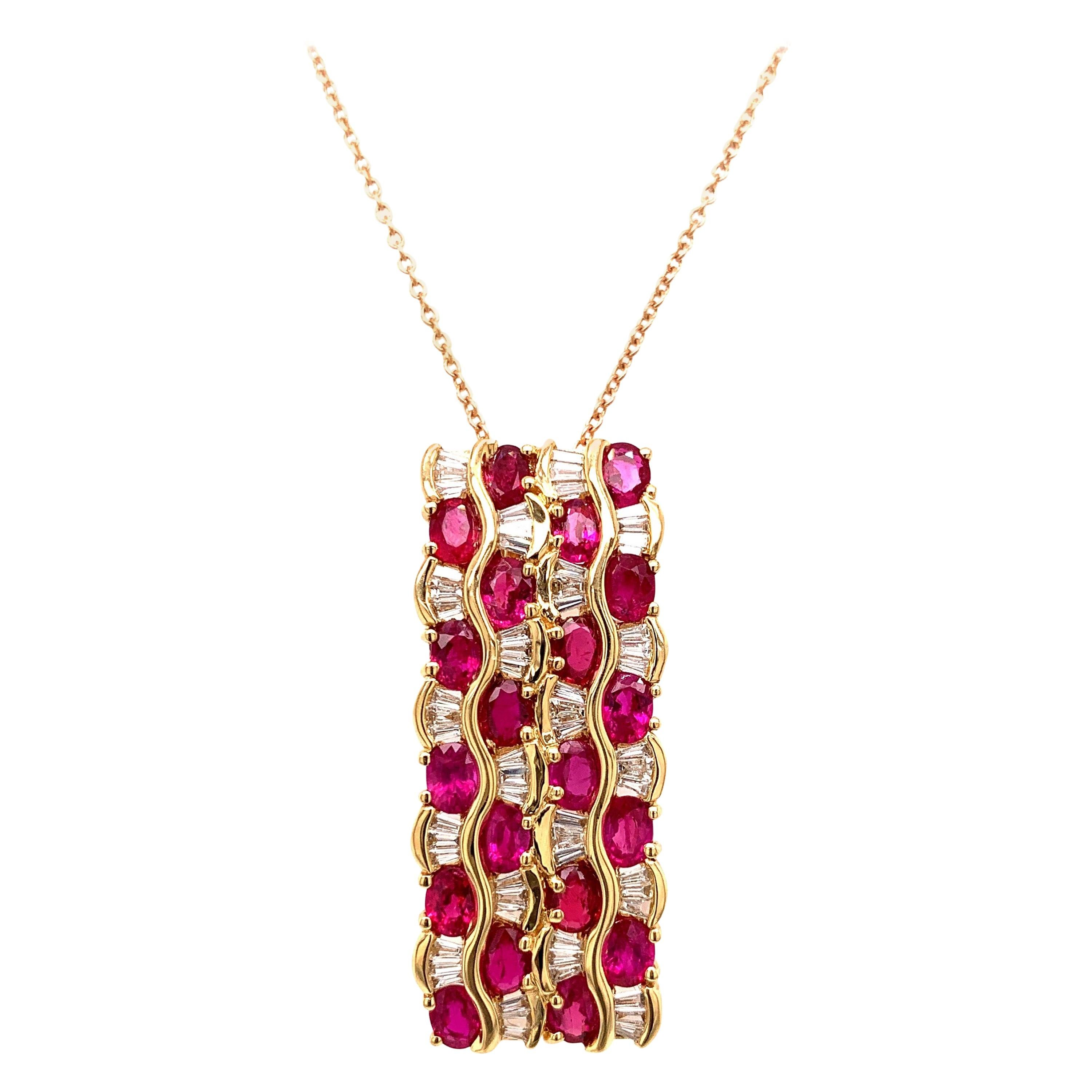 4.52 Carat Ruby Diamond Pendant