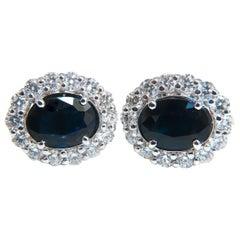 4.52 Carat Natural Sapphire Diamonds Cluster Earrings 14 Karat Gold