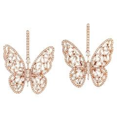 4.53 Carat Diamond 18 Karat Gold Butterfly Earrings
