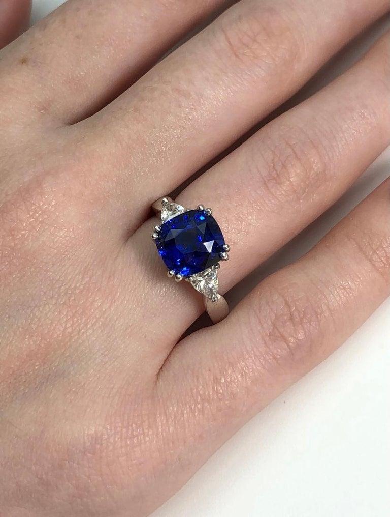 4.53 Carat Blue Sapphire Cushion GIA, Diamond Platinum 3-Stone Engagement Ring For Sale 4