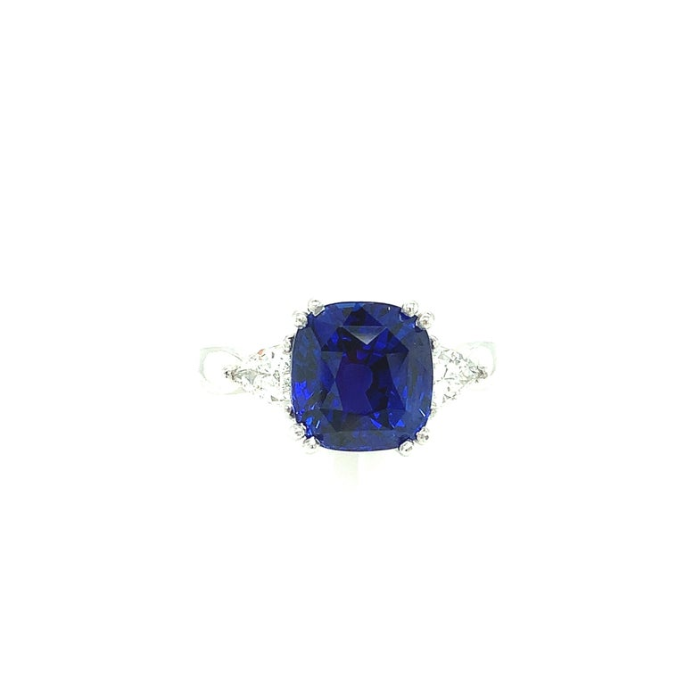 Artisan 4.53 Carat Blue Sapphire Cushion GIA, Diamond Platinum 3-Stone Engagement Ring For Sale