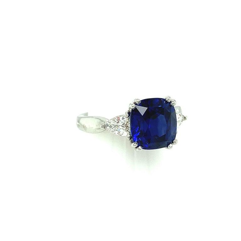 Cushion Cut 4.53 Carat Blue Sapphire Cushion GIA, Diamond Platinum 3-Stone Engagement Ring For Sale