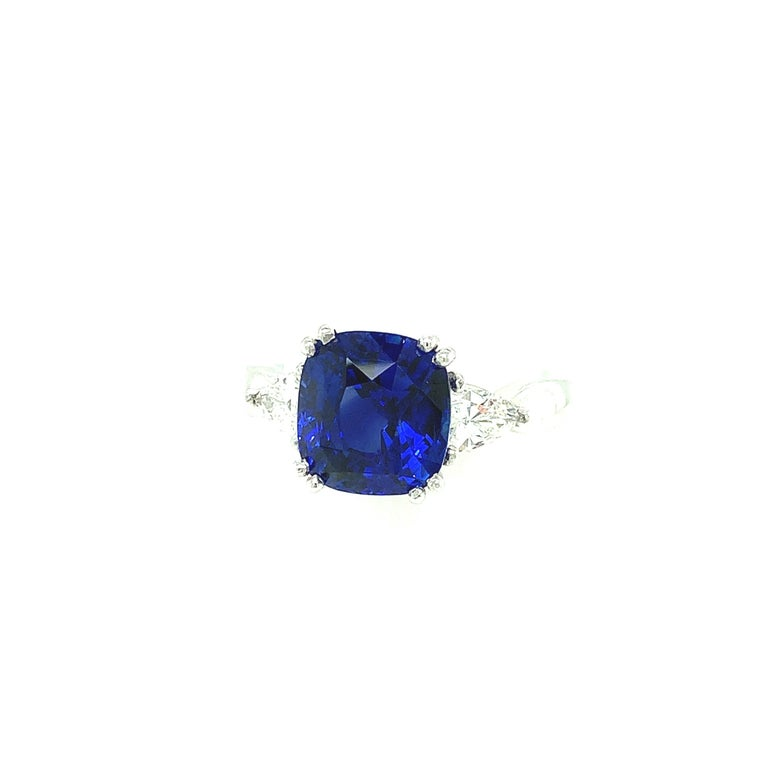 4.53 Carat Blue Sapphire Cushion GIA, Diamond Platinum 3-Stone Engagement Ring In New Condition For Sale In Los Angeles, CA