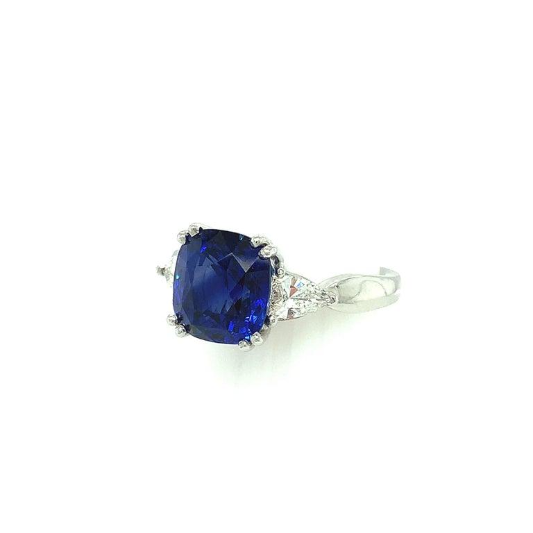 Women's 4.53 Carat Blue Sapphire Cushion GIA, Diamond Platinum 3-Stone Engagement Ring For Sale
