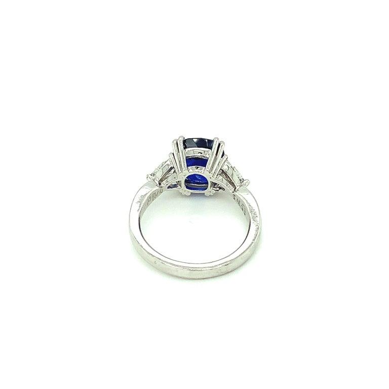 4.53 Carat Blue Sapphire Cushion GIA, Diamond Platinum 3-Stone Engagement Ring For Sale 2