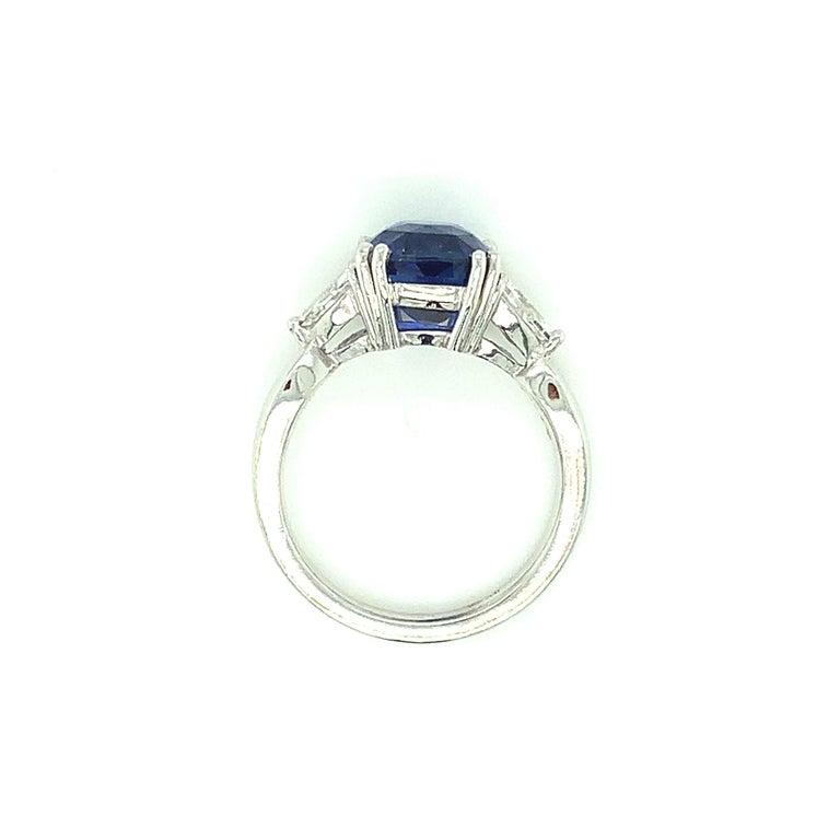 4.53 Carat Blue Sapphire Cushion GIA, Diamond Platinum 3-Stone Engagement Ring For Sale 3