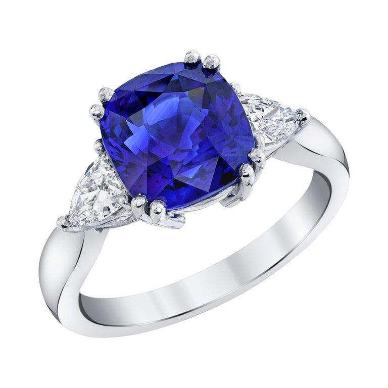 4.53 Carat Blue Sapphire Cushion GIA, Diamond Platinum 3-Stone Engagement Ring For Sale