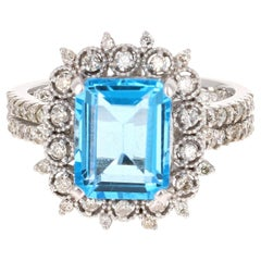 4.53 Carat Blue Topaz Diamond 14 Karat White Gold Ring