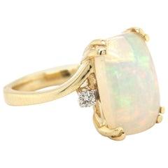 4.53 Carat Ethiopian Opal Diamond Yellow Gold Ring