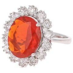 4.53 Carat Fire Opal Diamond 14 Karat White Gold Ring