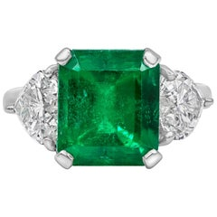 4.53 Carat Green Emerald and Diamond Three-Stone Engagement Ring