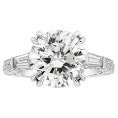 4.53 Carat Round Diamond Three-Stone Engagement Ring